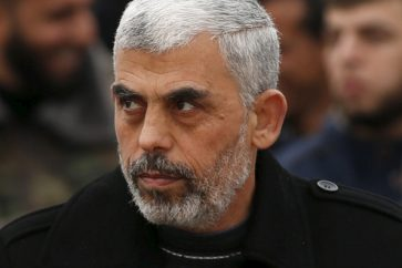 Hamas leader Yahia Sinwar attending a rally in Khan Younis in the southern Gaza Strip January 7, 2016.