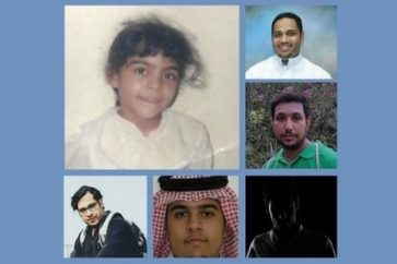Ghomgham as a child, and five other Saudi defendants who have been told this month they face the death penalty, including Ghomgham's husband, Moussa al-Hashem, bottom centre (Twitter)